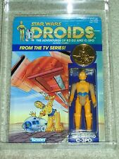 Vintage Star Wars 1985 AFA 85 C-3PO DROIDS CARTOON TV SERIES BACK CARD MOC UNP!!