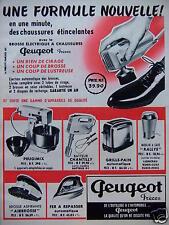 PUBLICITÉ 1960 PEUGEOT BROSSE EN UNE MINUTE DES CHAUSSURES ÉTINCELANTES