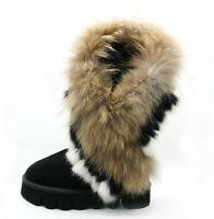 OOG Boots echtes Fell & Leder Damen Schuh Fellstiefel Bommel Winterstiefel Pelz