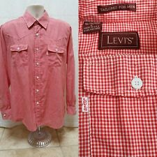 Vintage LEVIS Red Checked Button Down Western Shirt - Tailored Made USA - Size L
