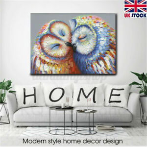 Owl Couple Canvas Painting Print Picture Wall Sticker Home Decor Office Art New
