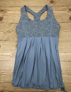 Lululemon Tank Top Gray Striped Pleated Front Yoga 6