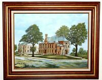 Orig Oil on Canvas Artwork Castle of St. Boniface Wood Frame Signed Smith