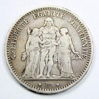 Pièce Argent 5 francs Hercule Année 1873 Atelier K Bordeaux Silver coin France