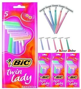 Bic Twin Lady Razors Blade x 5 for Sensitive Skin clean Shaving Disposable Women