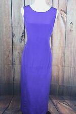 Vintage 100% Silk Maggy London Purple Scoop Neck Tie Back Dress SZ 10 D19