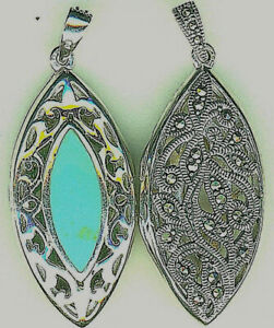 925 Sterling Silver Turquoise & Marcasite Revsble Locket Pendant 45mm Hallmarked