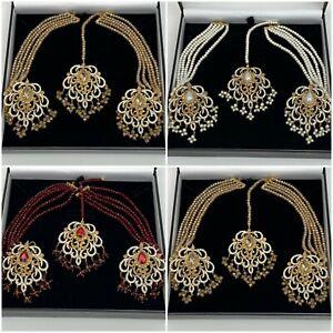 Wedding Bridal Indian Pakistani Maang Tikka With Earrings Set For Women