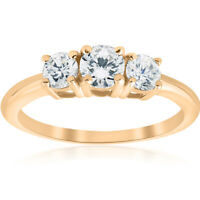 1ct 3 Stone Diamond Engagement Round Cut Ring 10k Yellow Gold