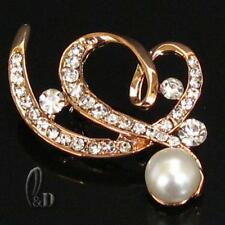AU SELLER Chic Made With Swarovski Crystal&Pearl Rose Gold Plated Brooch br029-9
