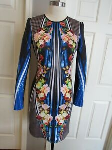 Clover Canyon Women's Multi-color Long Sleeve Stretch Dress Size M EUC