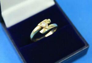 Vintage Antique Art Deco 585 14Carat Yellow Gold & Diamante Ring UK Size P