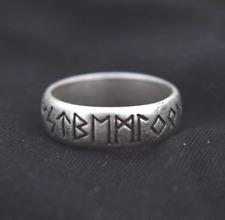 Nordic Viking Elder Futhark runas anillo tamaño S