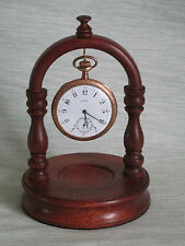 WOODEN POCKET WATCH STAND HOLDER DISPLAY HANGER IN DARK MAHOGANY WOOD UNIQUE