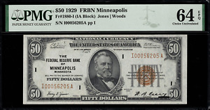 1929 $50 Federal Reserve Bank Note - Minneapolis - FR.1880-I - PMG 64 EPQ