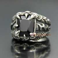 316L Stainless Steel Vintage Dragon Claw Black Onyx Gemstone Men's Biker Ring