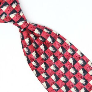 Brioni Mens Silk Necktie Red Black White Check Checker Print Tie Made in Italy