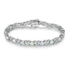 White Rhodium Plated White Fire Opal & Diamond Accent Tennis Bracelet