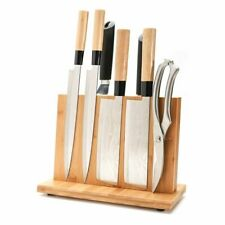 Magnetic Knife Holder Powerful Magnet Large Bamboo Wood Block Knives Double Side
