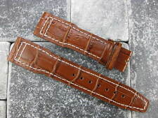 New IWC 21mm Brown Crocodile Grain LEATHER STRAP Watch Band Top Gun PILOT White