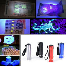 Mini UV Ultra Violet 9 LED Flashlight Blacklight Light Inspection Lamp Torch sT
