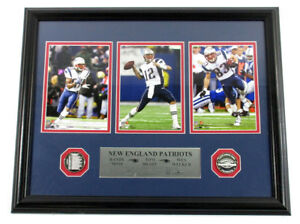 Tom Brady/Moss/Welker Framed Display with Photos & 2 Patriots Coins DF024446