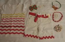 Gymboree Island Lily Size 4 White Bermuda Shorts 5 Top Set Necklace Bracelets
