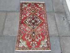 Vintage Traditional Hand Made Oriental Faded Red Pink Wool Small Rug 117x64cm