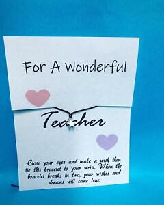 Wish Bracelet Charm Card Teacher Childminder Gift Present