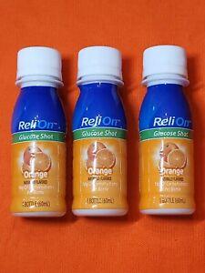 3 Pack ReliOn Glucose Shot Orange 2oz. Bottles Natural Flavor Drink B By 7/2023