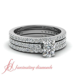 2 Ct Cushion Cut Platinum Diamond Trio Bridal Wedding Ring Sets For Women GIA