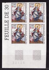 timbre France non dentelée  croix rouge    1993  num: 2853 bloc de 4 cdfbg