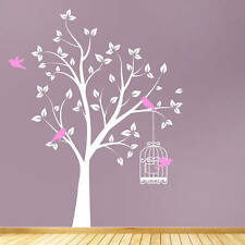 Tree Bird Cage Flower Birds Floral Wall Stickers / Decal Vinyl Transfer Art TR1