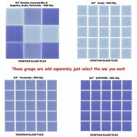 """50 - 3/4"""" Venetian Blue Glass Mosaic Tiles for your Project  (Pick you Group) #1"""