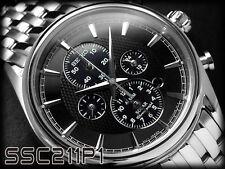 SEIKO SOLAR MENS WATCH SSC211P1 FREE EXPRESS CHRONOGRAPH ALARM SSC211 BLACK wBOX
