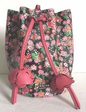 NWT Coach 57604 Rose Meadow Floral Large Drawstring Pleated Wristlet Bucket Bag