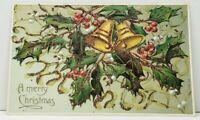 Christmas Greetings Glitter Holly Berry Bells Embossed c1915 Postcard J10