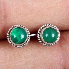 Handmade GREEN ONYX Gemstones STUD Earring 925 Sterling Silver Seller c-6078