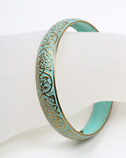 Vintage Green and Gold Tone Metal Bangle 1950s