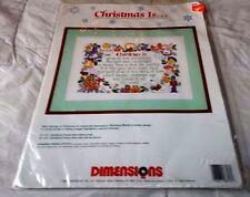 Christmas Is...Dimensions Needlework Wall Hanging 1990 NIP