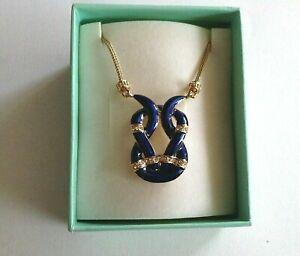 JACQUELINE BOUVIER KENNEDY Blue Enamel Crystal Necklace JBK