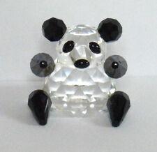 IRIS ARC FACETED CRYSTAL PANDA BEAR FIGURINE BLACK/CLEAR 3.5cm HIGH