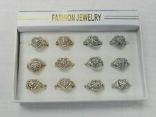 Wholesale Jewelry  Lot 12 Crystal Heart Fashion Rings Mix Sizes