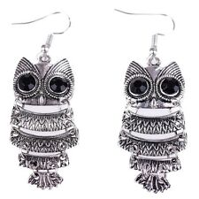 Women Antique Silver Dangle Funny Owl Earrings Ear Stud Korean Fashion