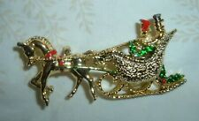 Vintage Signed Gerry's Horse Driven Sleigh Enamel Christmas Brooch
