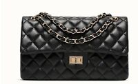 Faux Leather Black Pink White Beige Quilted Handbag with Quilted Chain Flap Bag