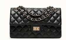 Leather Black Pink White Beige Quilted Handbag with Quilted Chain Flap Bag