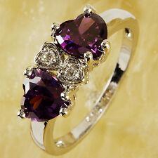New Amethyst White Topaz Gemstone Jewelry Women Silver Ring Size 8 Free Shipping