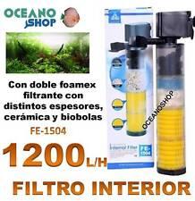 FILTRO INTERIOR 1200L/H 15W ACUARIO con DOBLE FOAMEX CERAMICA BIOBOLAS interno