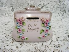 New Listingvintage porcelain floral pin money coin purse piggy bank pink gold trim hp